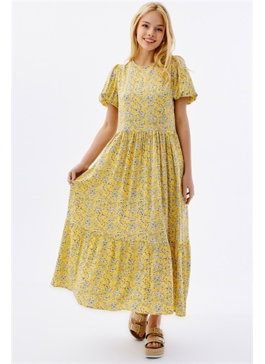 Pattaya Pattaya Kadın Çiçekli Kısa Kollu Yazlık Elbise P21S201-2034 Sarı